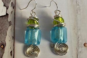 EAR blue green glass--silver4