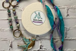 SARI-blue, purple bird--coaster